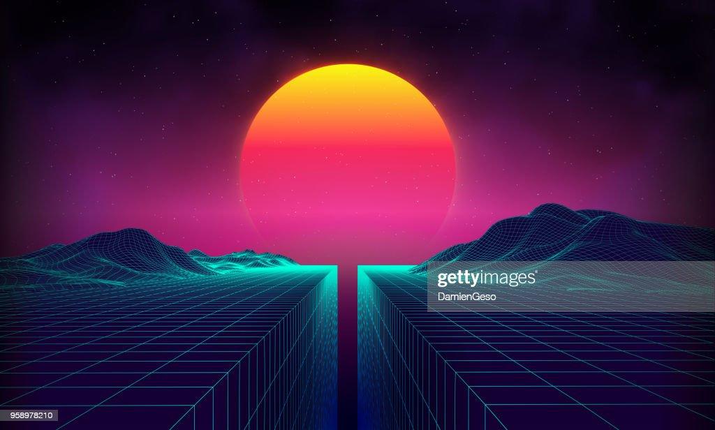 Retro background futuristic landscape 1980s style. Digital retro landscape cyber surface. 80s party background . Retro 80s fashion Sci-Fi Background Summer Landscape