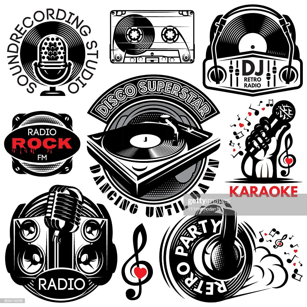 retro badges for karaoke, disco, party, radio, singing