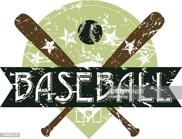 retro baseball banner - grunge background - baseball bat stock illustrations, clip art, cartoons, & icons