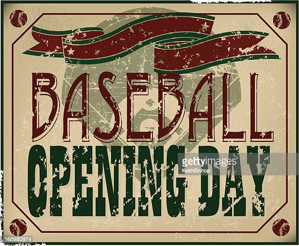 illustrations, cliparts, dessins animés et icônes de ouverture de la saison de baseball rétro avec bannière de jour - 1er jour d'un événement