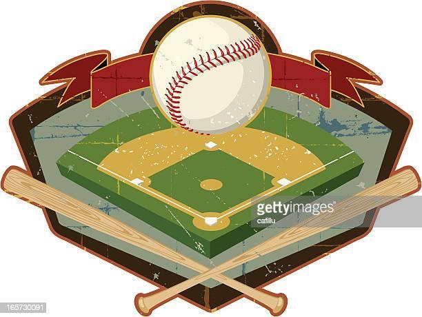 ilustraciones, imágenes clip art, dibujos animados e iconos de stock de retro sheild con campo de béisbol y los murciélagos - bate de béisbol