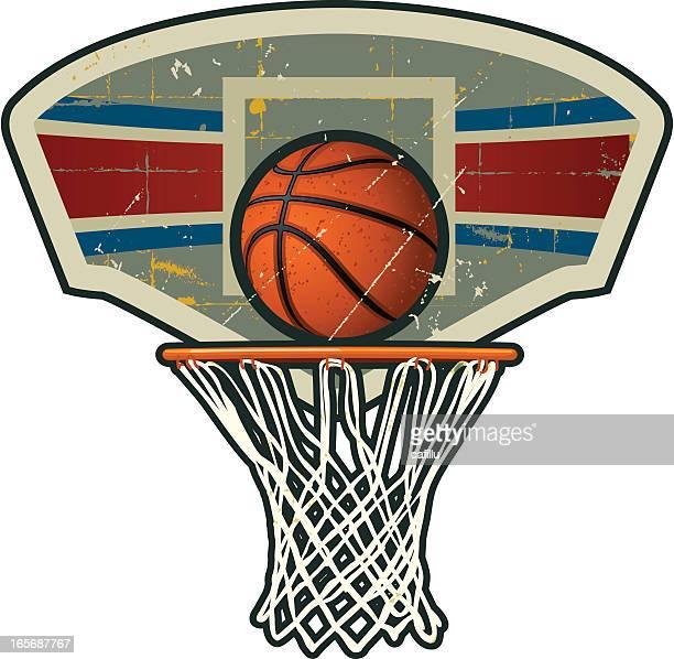 ilustraciones, imágenes clip art, dibujos animados e iconos de stock de retro canasta de baloncesto con net - canasta de baloncesto