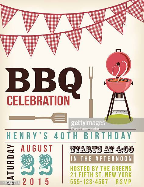 retro bbq invitation template with checkered flags above. - picnic stock illustrations