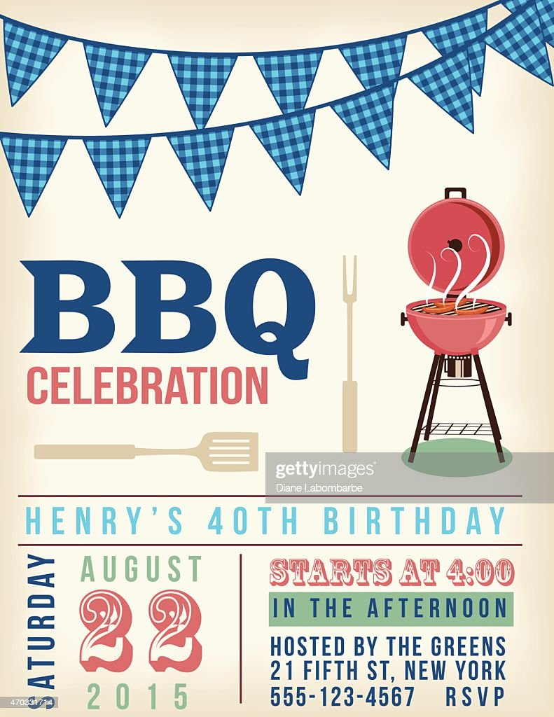 Retro Bbq Invitation Template With Checkered Flags Vector Art ...