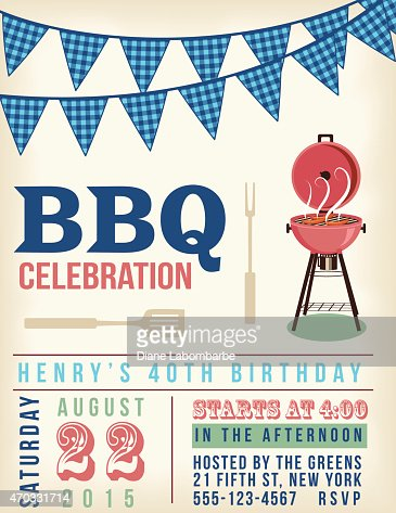 Retro Bbq Invitation Template With Checkered Flags Above Vector Art