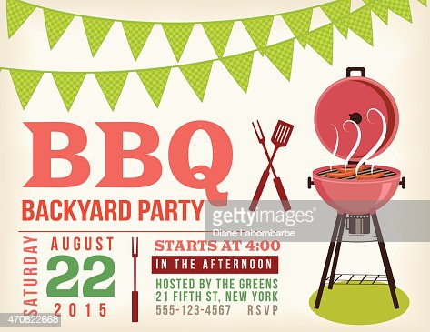 Retro Bbq Invitation Template With Checkered Flags Vector Art