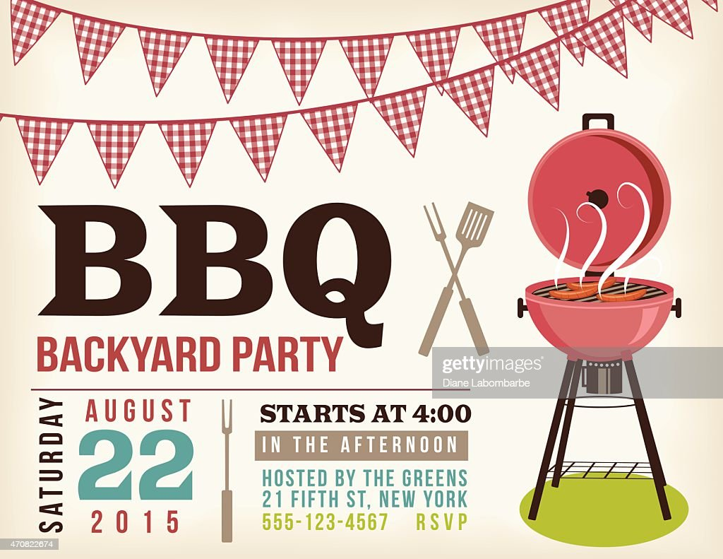 Retro BBQ Invitation Template With Checkered Flags : stock illustration