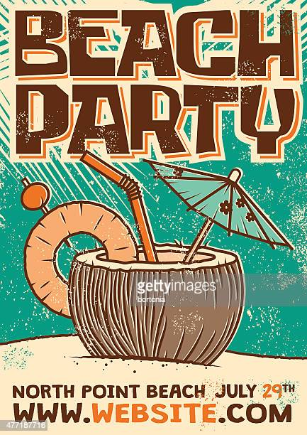 retro beach cocktail party screen printed poster - coconut stock illustrations, clip art, cartoons, & icons