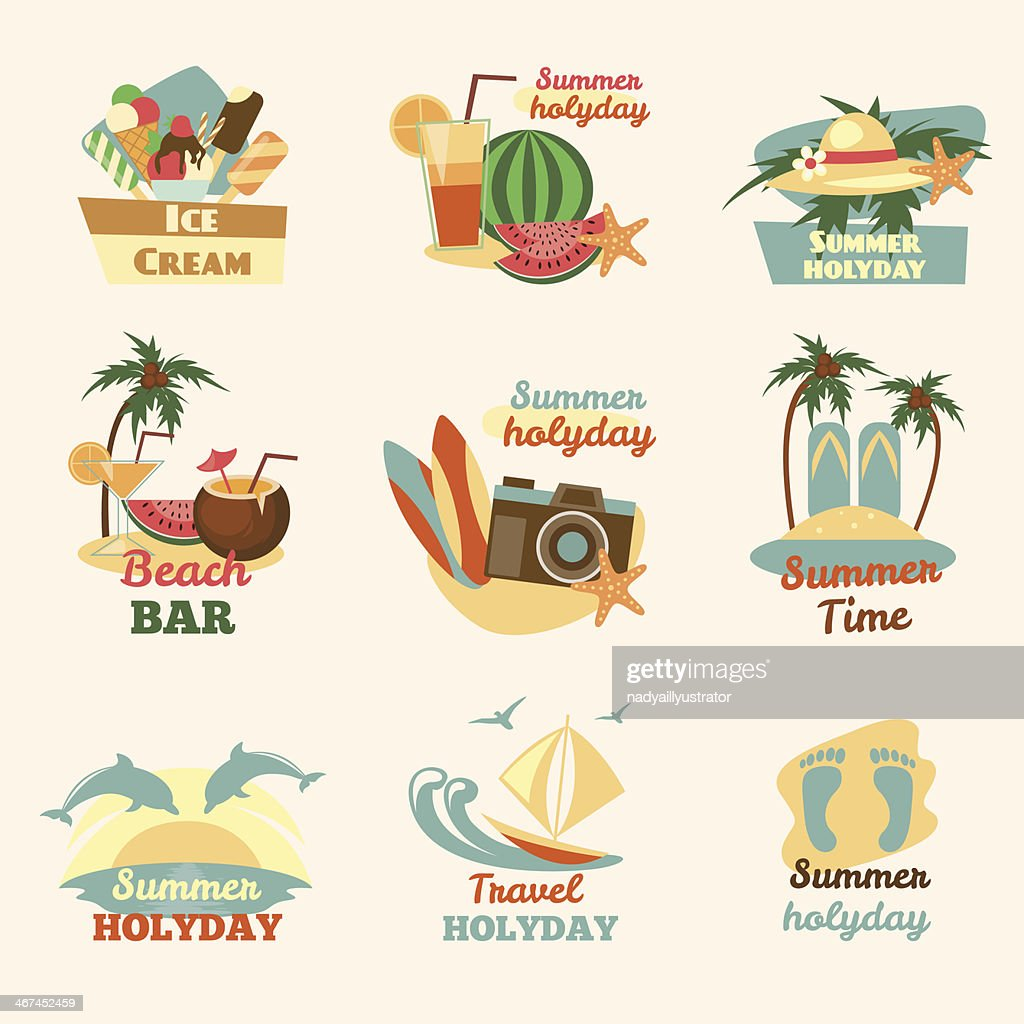 Retro beach emblems