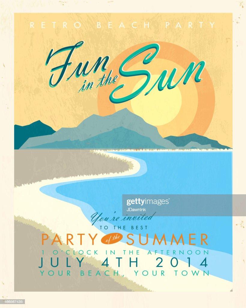 Lemonade Summer Beach Party Invitation Template Vector Art | Getty ...