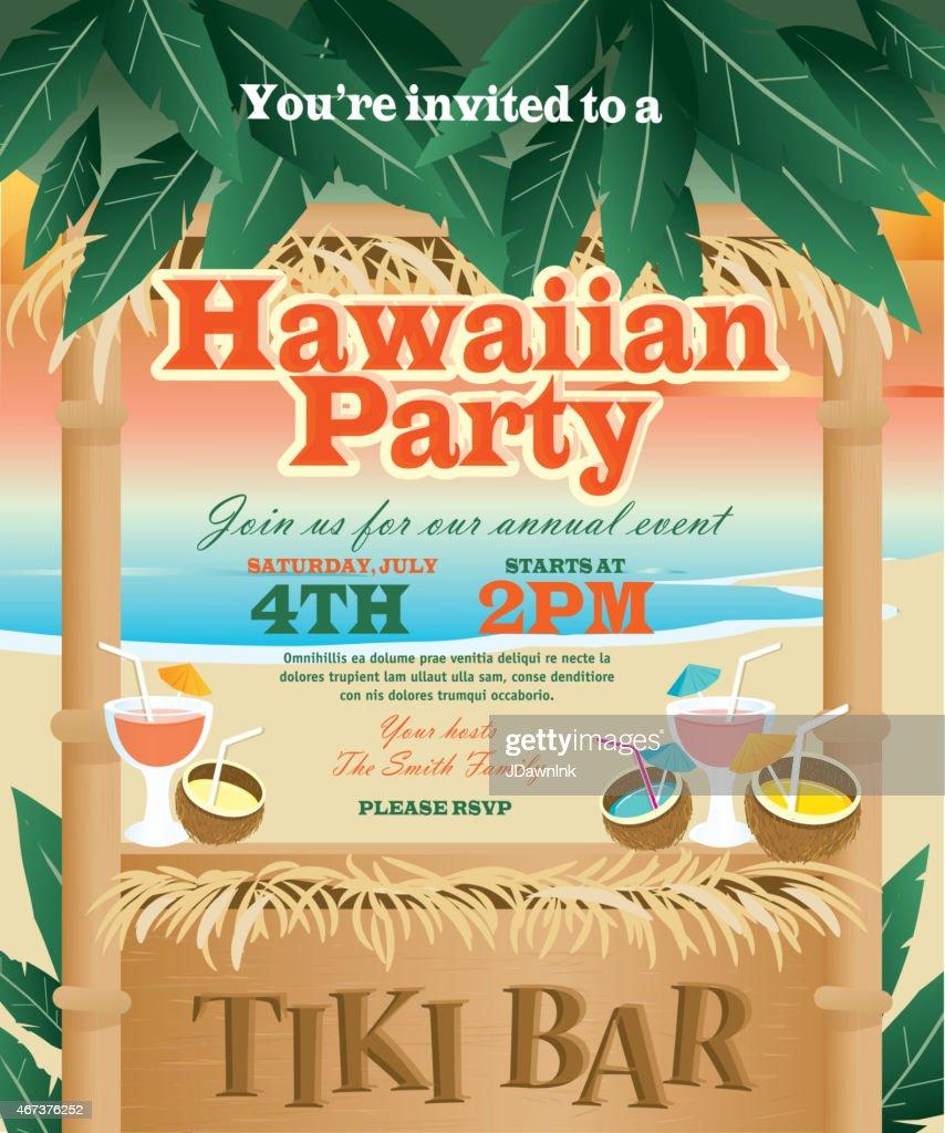 Retro Beach Summer Tiki Bar Hawaiian Party Invitation