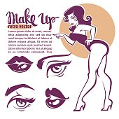 retro beauty collection, pinup girl, lips, eyes and lettering