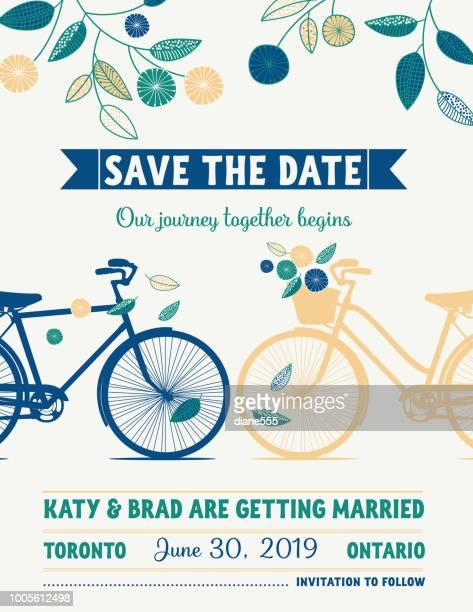ilustraciones, imágenes clip art, dibujos animados e iconos de stock de bicicleta retro guardar el anuncio de boda de la fecha - frase corta