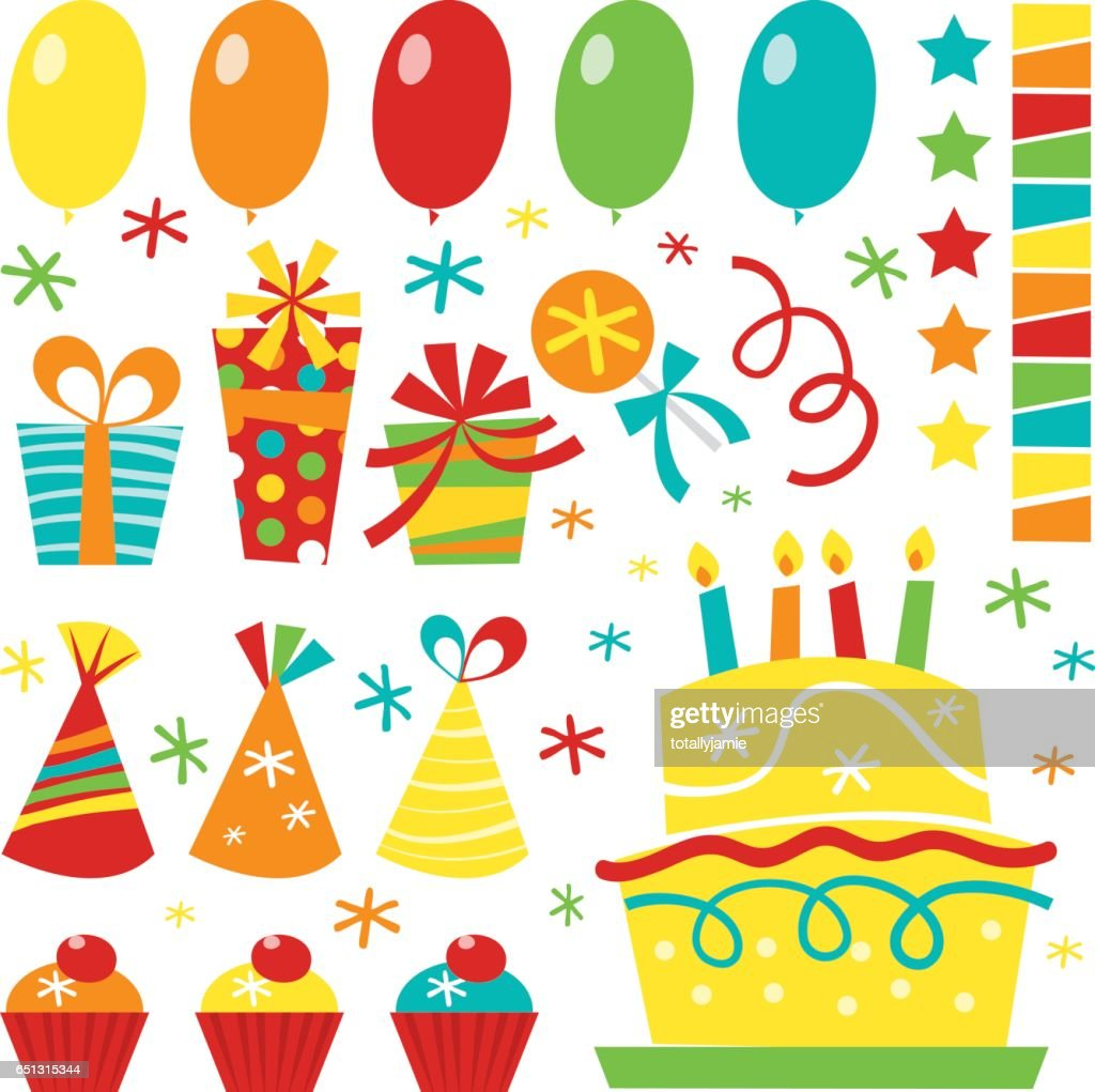Retro Birthday clip arts