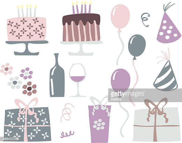 stockillustraties, clipart, cartoons en iconen met retro birthday elements - happy birthday vintage