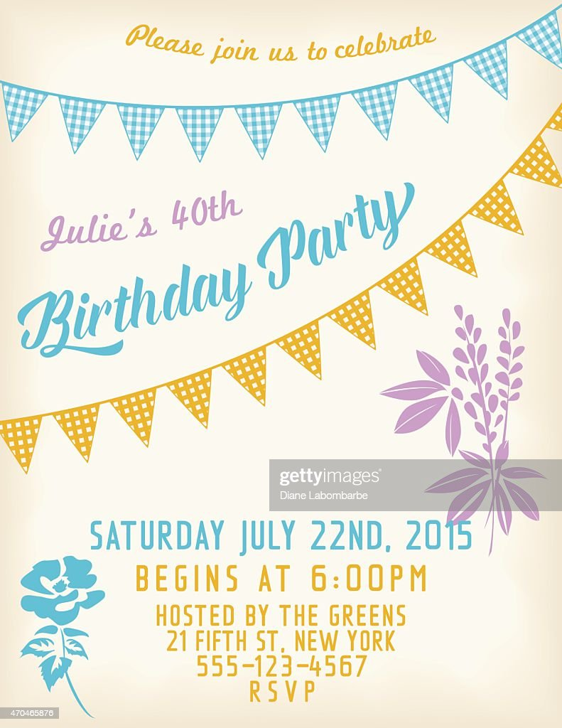 Retro Birthday Party Invitation Template With Bunting Flags And ...