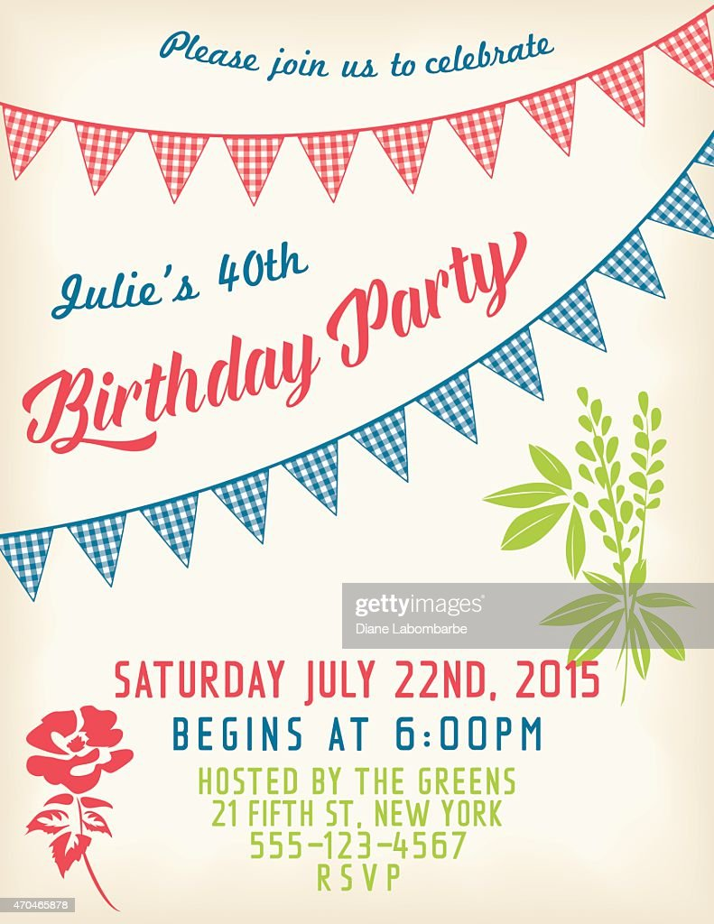 Retro birthday party invitation template with bunting flags and text retro birthday party invitation template with bunting flags and text vector art filmwisefo
