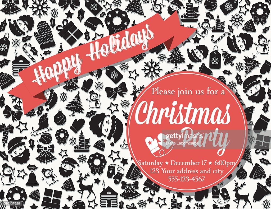 Retro Black And Red Christmas Party Invitation Template Vector Art ...