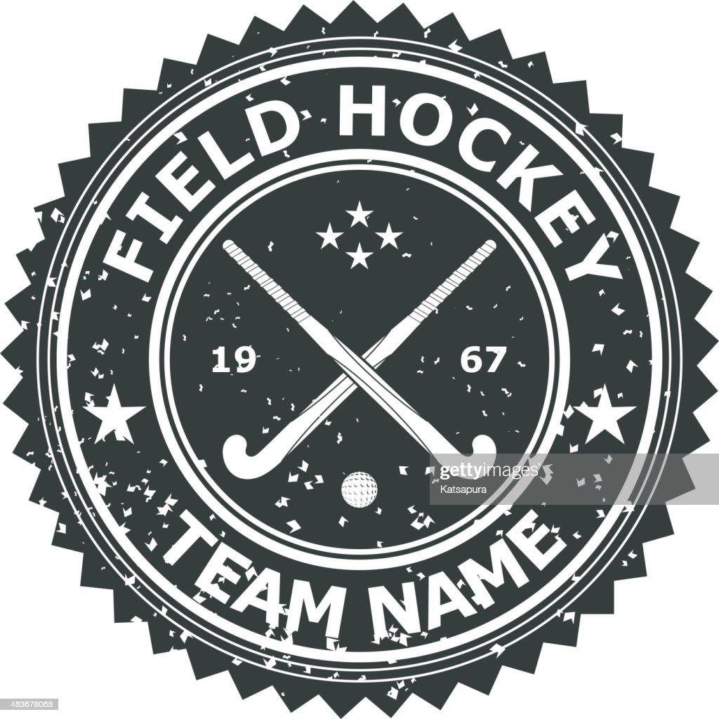 Retro Black badge emblem  for the team field hockey. Vector
