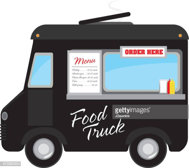 Retro black food truck with text design and bunting