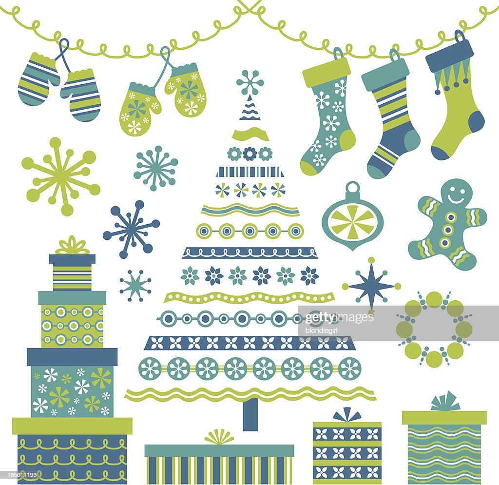 Retro Blue Christmas Tree And Design Elements Vector Art | Getty Images
