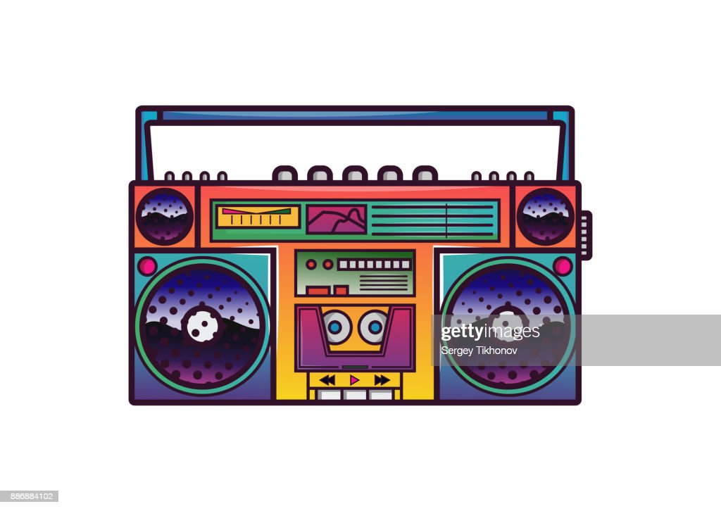 Retro boombox in 80's-90's trendy style. Colorful illustration on white background