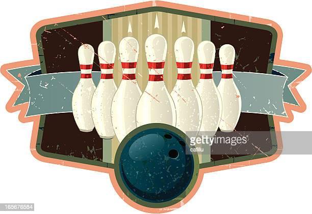 Retro-Bowling-Wappen mit Ball und Pins