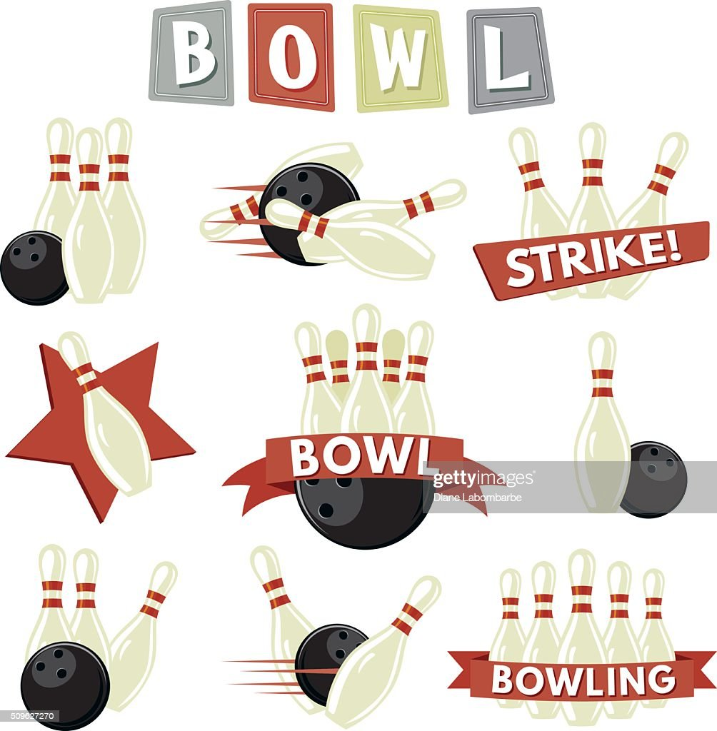 Retro Bowling Icons Set