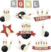 Retro Bowling Icons Set
