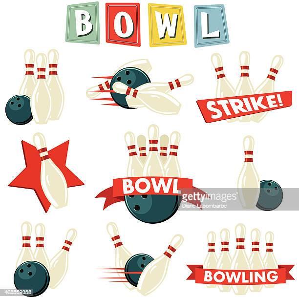 Retro Bowling Ornament Set
