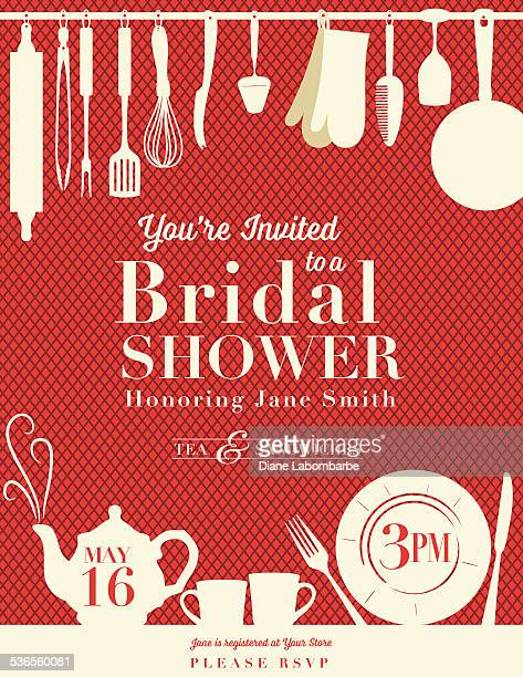 retro bridal shower invitation with kitchen gadgets - baked stock illustrations, clip art, cartoons, & icons