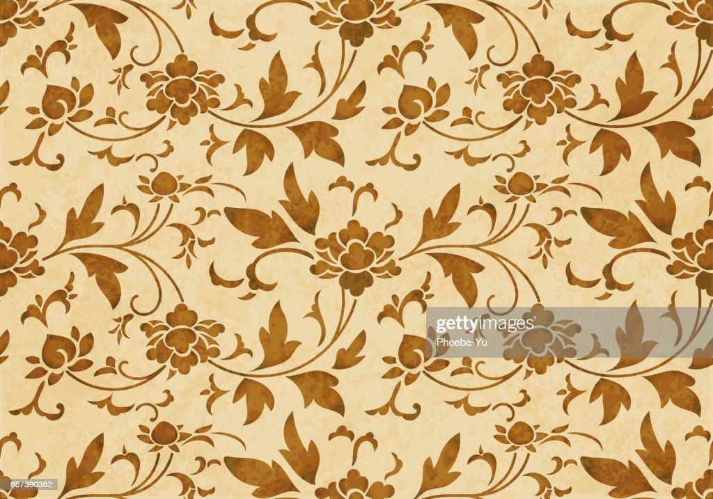 Retro brown watercolor texture grunge seamless background botanic spiral flower vine