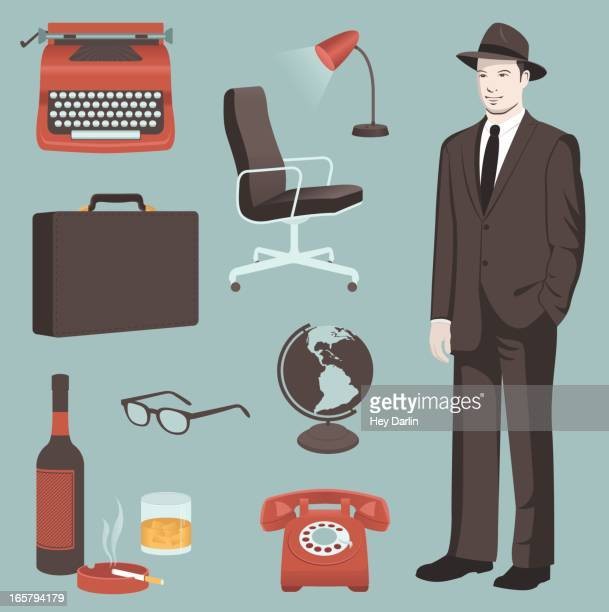 retro business elements - hands in pockets stock illustrations