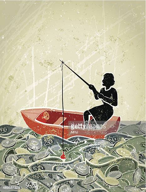 Retro,  Business Woman Fishing in a Sea of Money