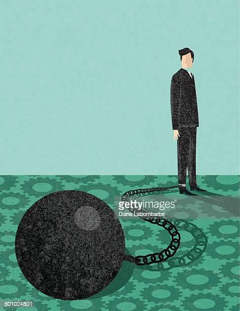 ilustraciones, imágenes clip art, dibujos animados e iconos de stock de retro empresario con bola de hierro y cadena - bola de hierro y cadena