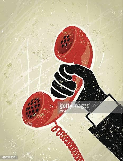 Retro Geschäftsmann Hand hält einen Old Fashioned Telefonhörer Illustrationen