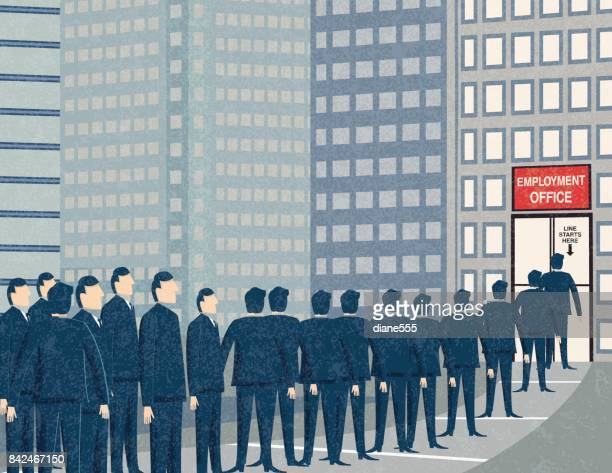 retro businessmen waiting in line at the unemployment office - downsizing unemployment stock illustrations, clip art, cartoons, & icons