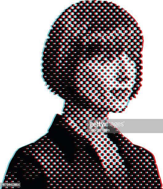 Retro Businesswoman Thinking and Planning with Moire Pattern