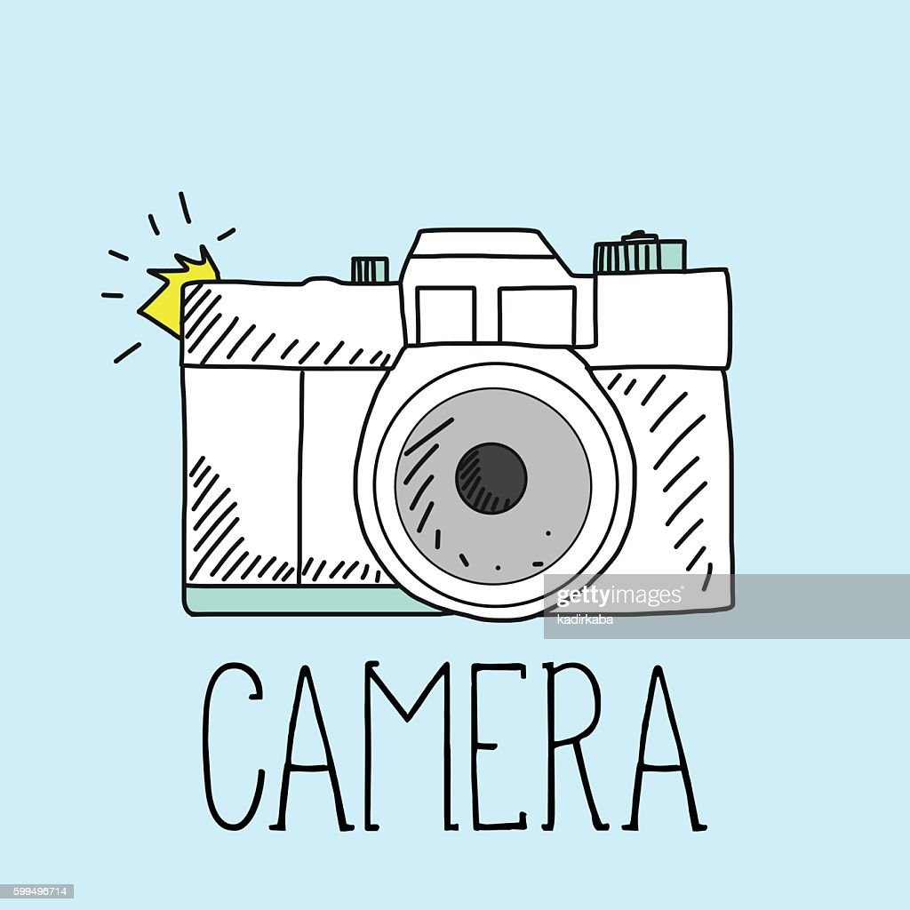 retro camera and vector illustration