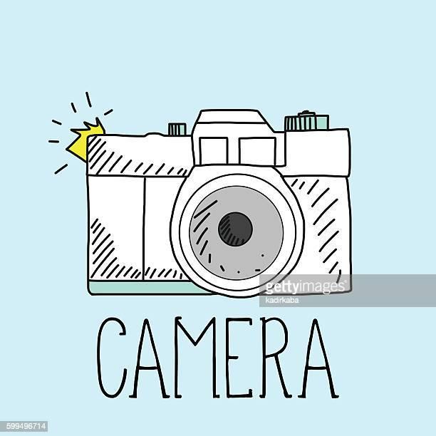 ilustraciones, imágenes clip art, dibujos animados e iconos de stock de retro camera and vector illustration - camara reflex