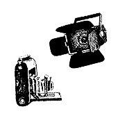 Retro camera and video light equipment hand drawn