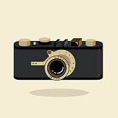 Retro camera black and gold. Flat vector illustration. Isometric perspective.