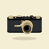 Retro camera black and gold. Flat vector illustration. Top view.