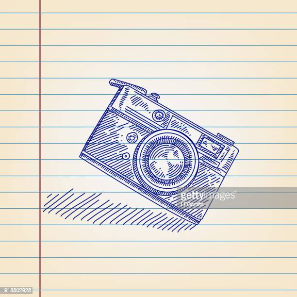 Retro Camera Drawing on Lined paper