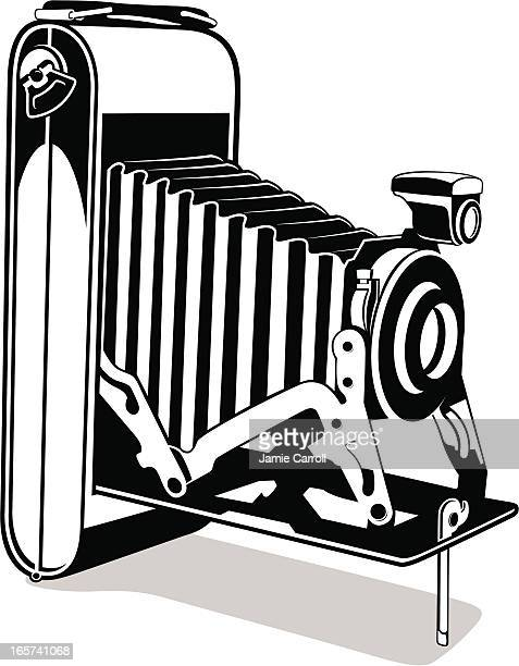retro camera illustration - large format camera stock illustrations, clip art, cartoons, & icons