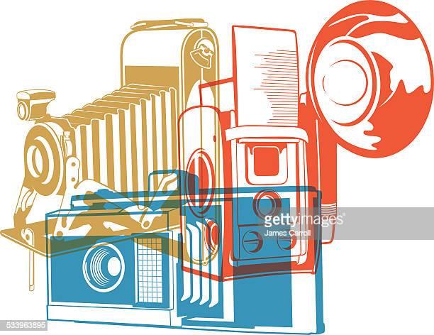 ilustraciones, imágenes clip art, dibujos animados e iconos de stock de cámara retro ilustración - camara reflex