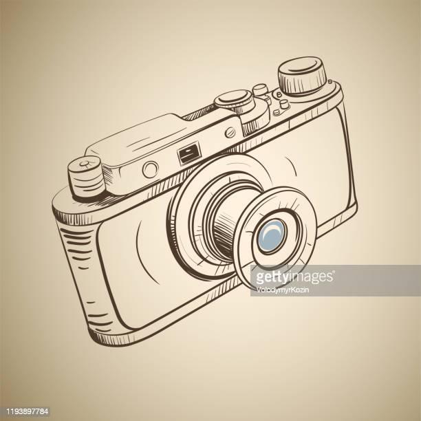 retro camera in a sketch style - body camera stock illustrations