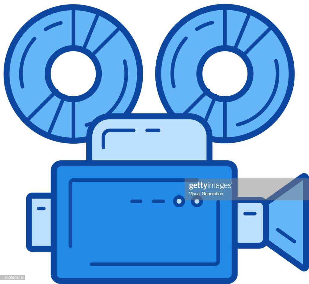 Retro camera line icon