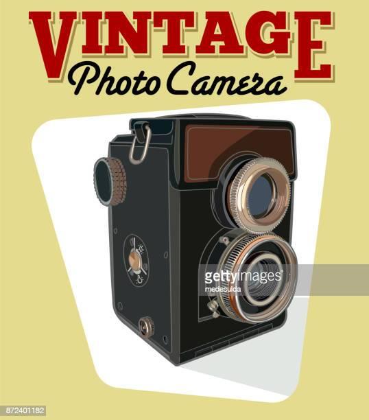 ilustrações de stock, clip art, desenhos animados e ícones de retro camera - maquina fotografica antiga