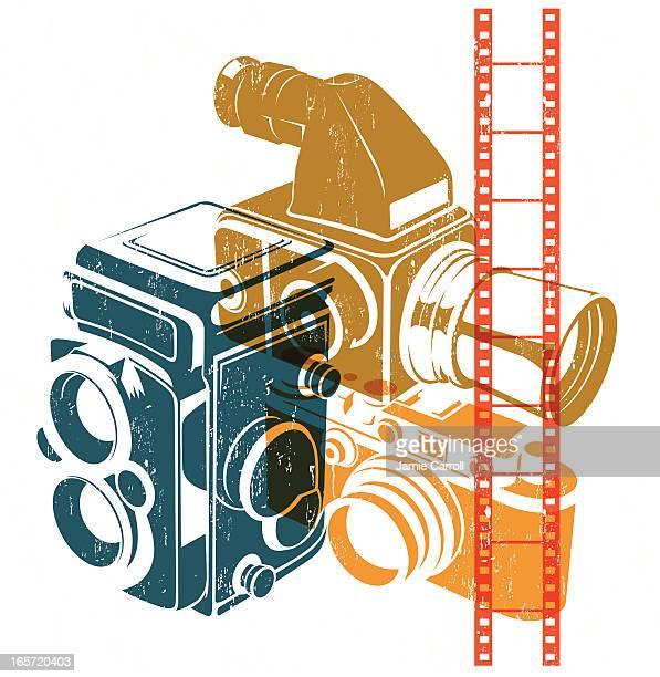 retro cameras - large format camera stock illustrations, clip art, cartoons, & icons